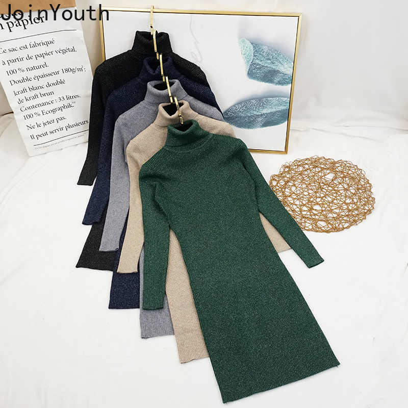 JoinYouth Lurex Solid Turtleneck Bodycon Dress Winter Autumn Women Fashion Vestidos Stretch Knitted 2019 Warm Sexy Dresses J096