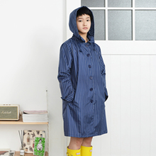 Tiohoh Ladies Raincoat Stripe Style 100% Polyester Waterproof Jacket Fashion Brand Travel Camping Suit