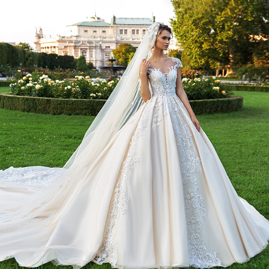 ETHEL ROLYN Short Lace Princess Wedding Dresses 2020 Satin A-Line Robe De Mariee Luxury Beading Appliques Chapel Wedding Gowns