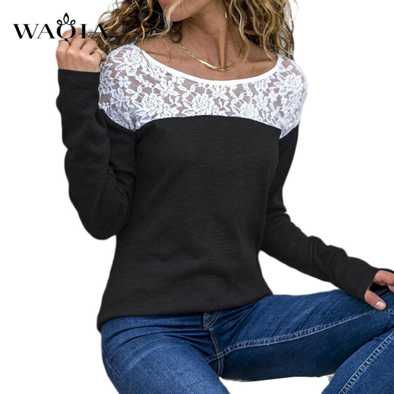 Plus Size Women Tops 2019 Women Autumn Long Sleeve T-Shirt Sexy Lace Patchwork Solid Color Long Sleeve Tee T Shirts Female Tops