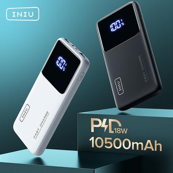Banco de energía INIU 18W PD 10500mAh cargador portátil de carga rápida batería externa para iPhone 12 Xiaomi Redmi Note 9