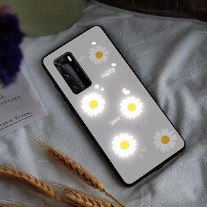 Image 3 - Purple Daisy LED Glow Phone Case for Huawei P20 P30 P40 Pro Mate 20 30 40 Plus Nova 6 5G Honor 20 pro Luminous Glasses Cover