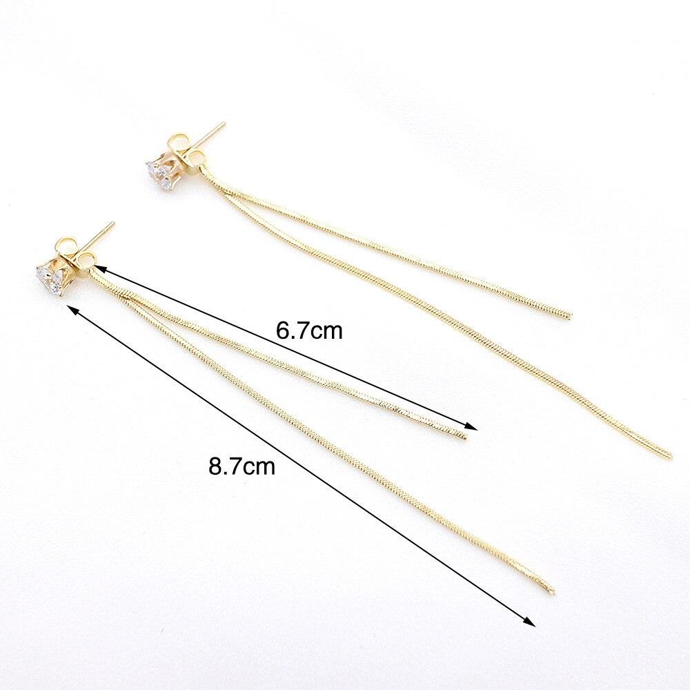 2020 New Long Crystal Tassel Gold Color Dangle Earrings for Women Wedding Drop Earing Fashion Jewelry Gifts 5