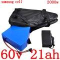 Бесплатная таможенная пошлина 60В литиевая батарея использование samsung cell 60В 20AH Электрический велосипед батарея 60в 1000 Вт 2000 Вт Электрический ...