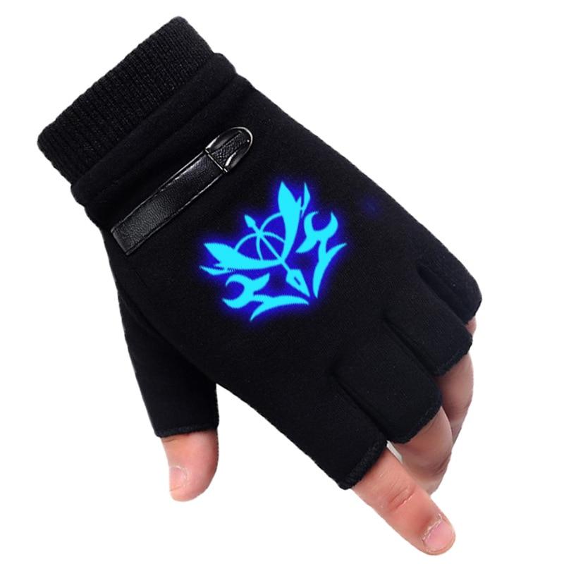 Светящиеся зимние аниме Fate/stay Night перчатки с полупальцами для пар Мультяшные судьбы нулевой варежки черные кашемировые унисекс косплей под...