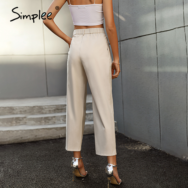 Solid High Waist Office Trousers 3