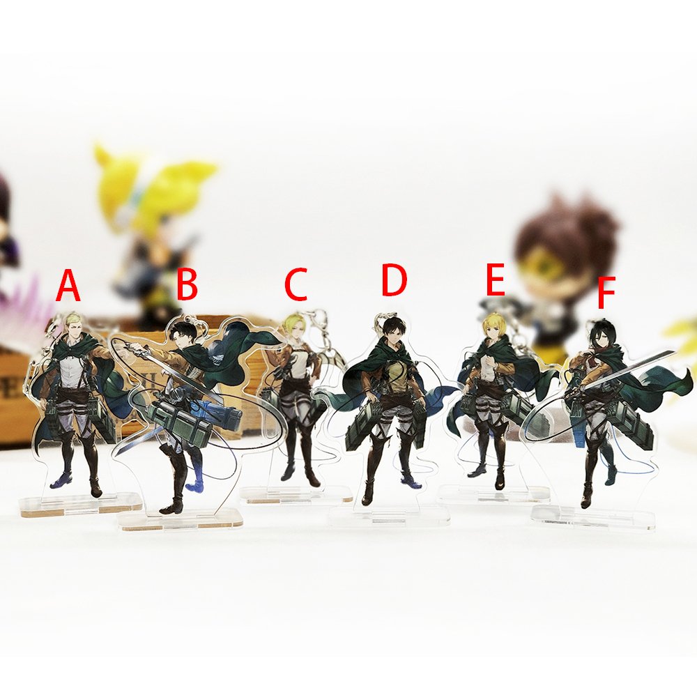 Love Thank You Attack On Titan SMALL Acrylic Stand Figure Keychain Dual-use Eren Mikasa Armin Erwin Levi Annie Holder Cake Toppe