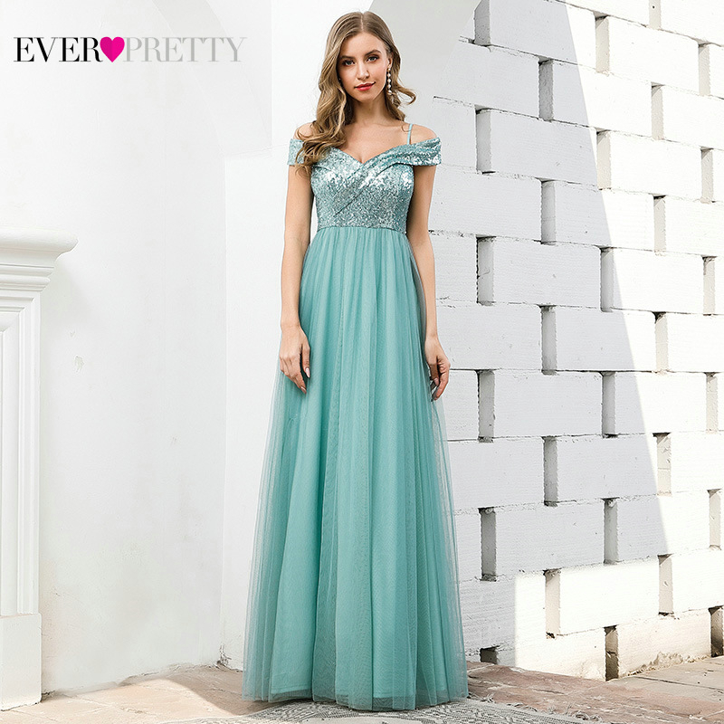 Sexy Blue Prom Dresses Ever Pretty Sequined Spaghetti Straps A-Line Ruched V-Neck Tulle Sparkle Evening Party Gowns Gala Jurken