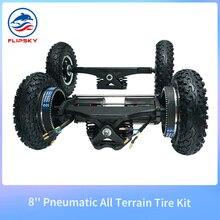 All Terrain Tire Kit with Trucks and Belt Motor Pneumatic Wheels for DIY Skate Board / Offroad Electric Skatebaord Flipsky