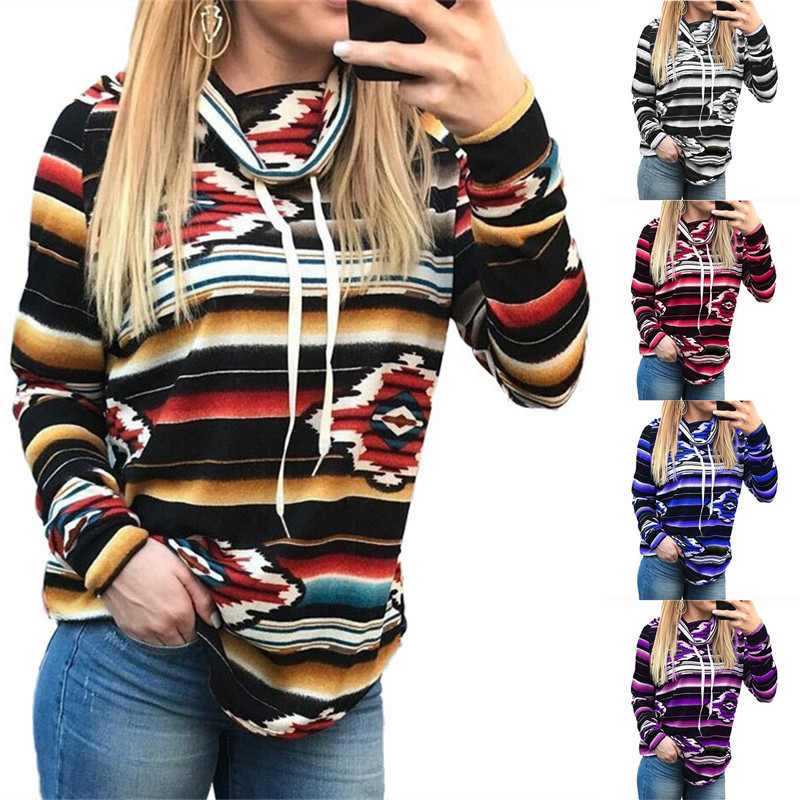 NEW Women Autumn And Winter Retro Printed Colorblock Oversize Lace Up High Collar Sweatshirt