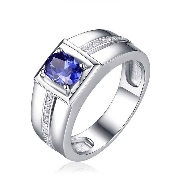 High-end New Trendy Artificial Sapphire With Zircon Best Design Hot Sale Rings For Men 925 Silver Anillos Bague Anel Jewlery