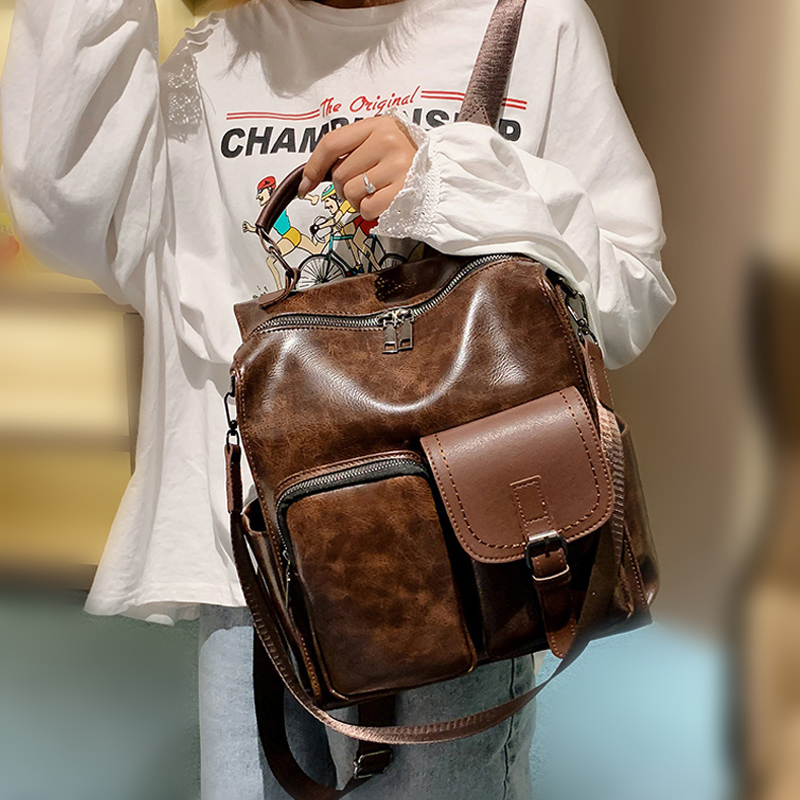 Preppy Large Capacity Pu Leather Women Backpack Fashion School Bag Backpacks For Teenagers Gilrs Vintage Shoulder Bags Mochila