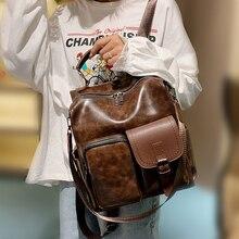 Tiki büyük kapasiteli Pu deri kadın sırt çantası moda okul çantası gençler için sırt çantaları kızlar Vintage omuz çantaları Mochila