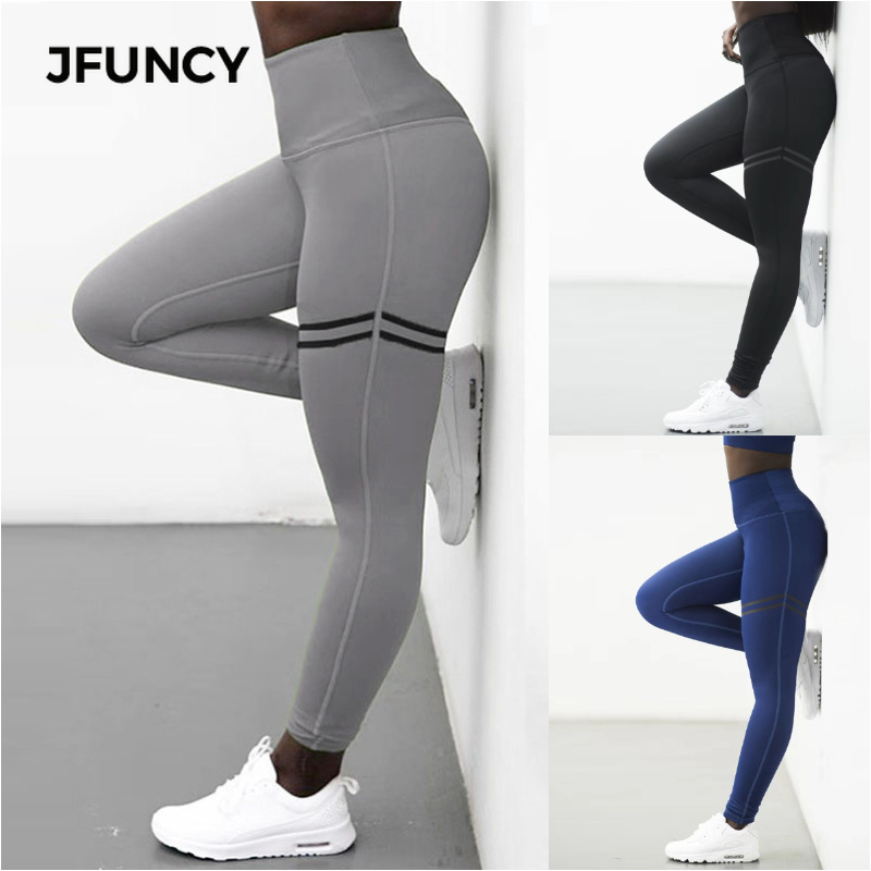 JFUNCY Elastic Slim Fitness Leggings Women Gym Push Up Running Workout Leggings Black Blue Plus Size Printing Patchwork Trousers