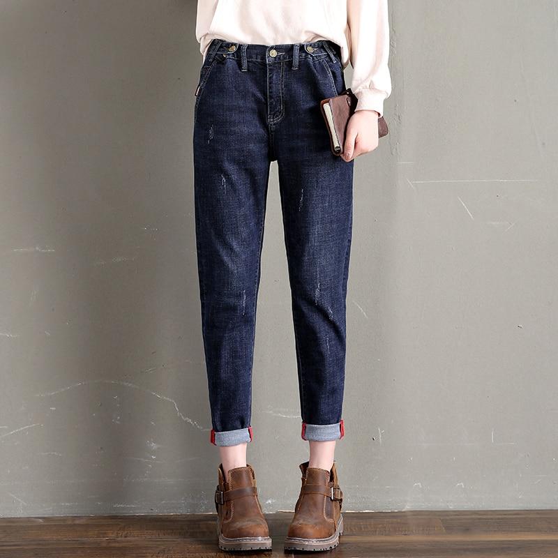 Women Jeans Pants 2019 Loose Casual Boyfriend Pants Solid Plain Pocket Denim Trousers Harajuku Ankle-Length Mom Jeans Vaqueros