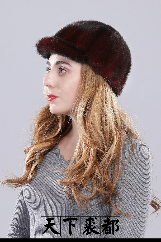 Роскошная женская Норковая меховая шапка зимняя Осенняя модная Натуральная норковая меховая бейсболка Регулируемая брендовая качественная