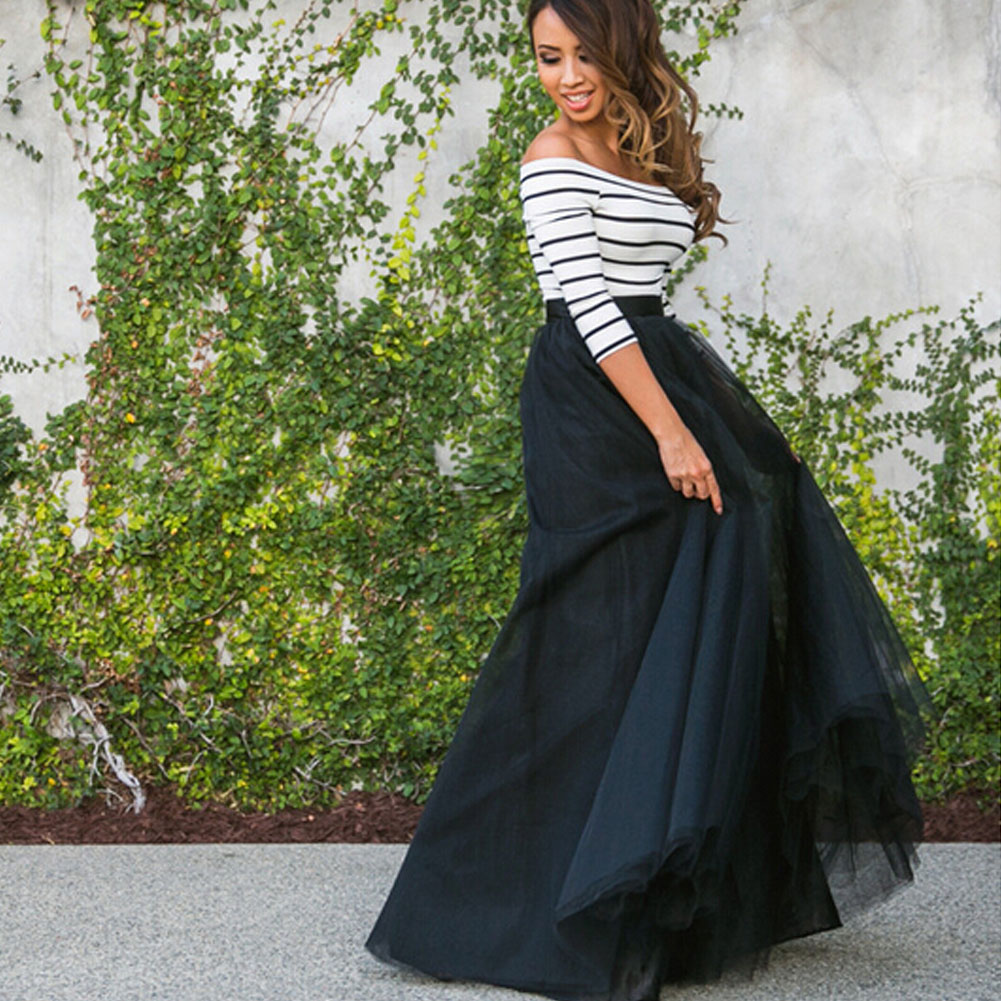 Hirigin 2019 New Sexy Slash Neck Women Multi Layer Tulle Pleated Retro Long Maxi Tutu Dress High Waist Patchwork