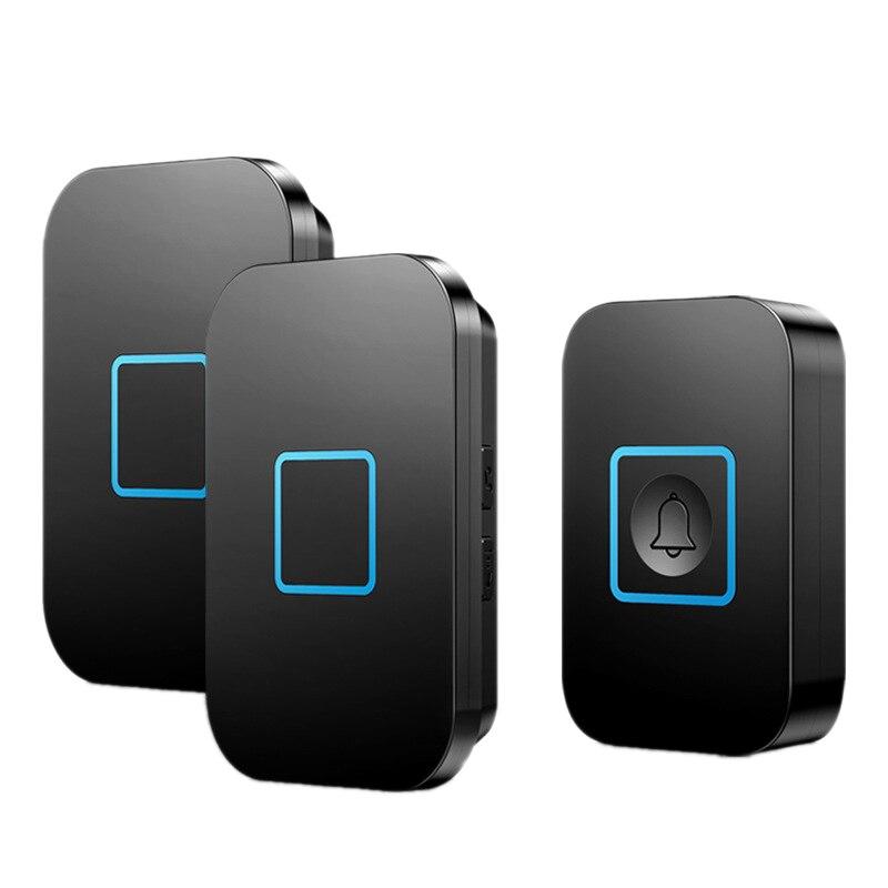 Smart Wireless Waterproof Doorbell 1 Button 2 Receiver LED Music Doorbell EU Plug