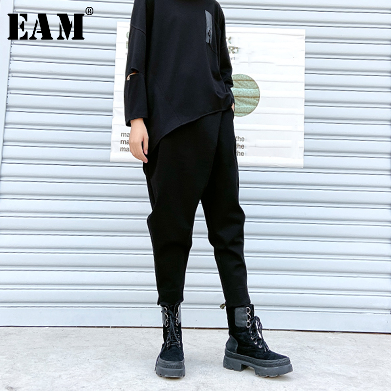 [EAM] High Elastic Waist Black Split Long Harem Trousers New Loose Fit Pants Women Fashion Tide Spring Autumn 2020 1R444