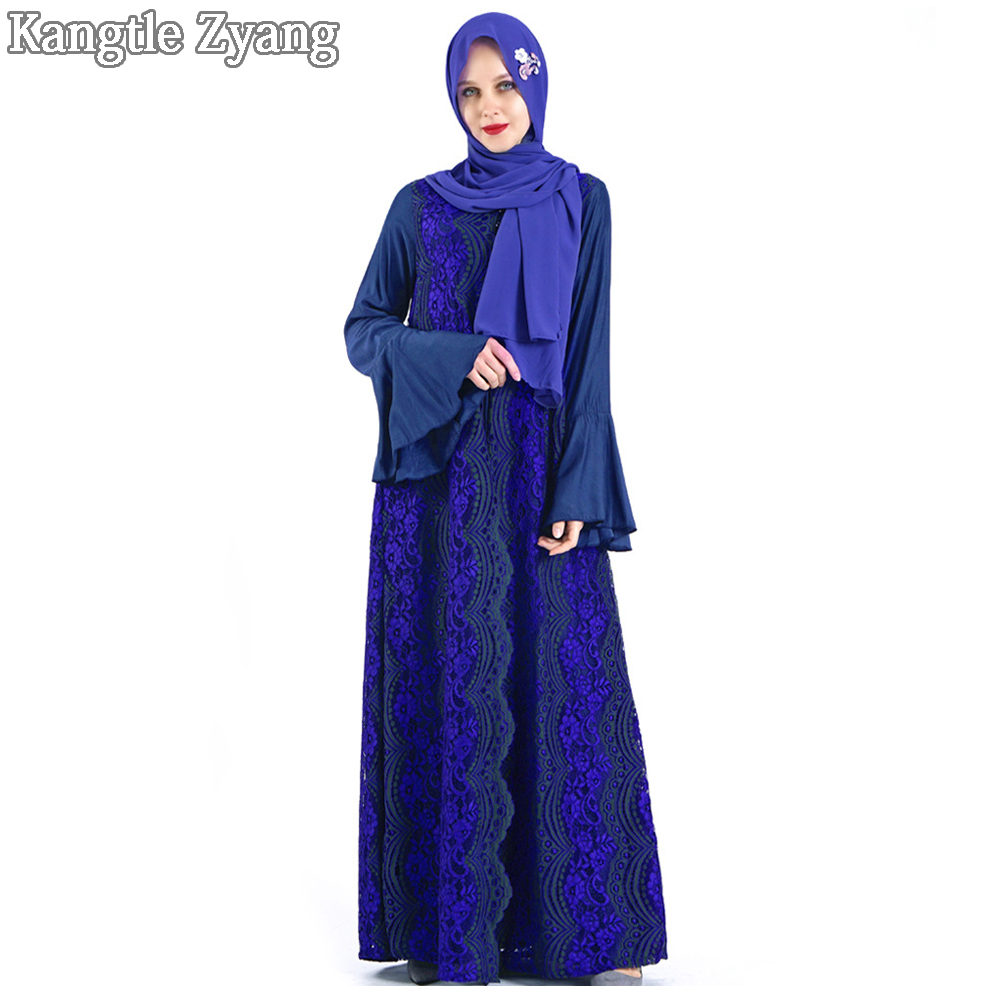 Blue Arabic Abaya Muslim Dress Kaftan Dubai Caftan Islamic Clothing Abayas For Women Ramadan Eid Mubarak Hijab Turkish Dresses