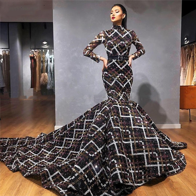 Evening Dresses 2020 Mermaid For Women Sequin Long Sleeve Floor Length In Turkey Formal Prom Party Nigth Gown Plus Size Elegant