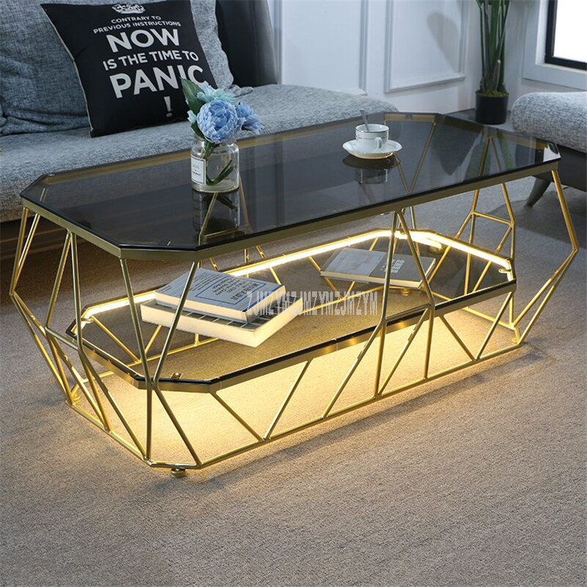 Nordic Rectangular Tea Table With LED Light Creative Double Layer Toughened Glass Desktop Iron Art Leg Modern Living Room Table