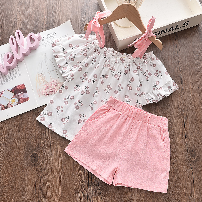 Bear Leader Girls Suit Summer Girls Clothes Colorful Printing Pants 2PCS Suit Kids Christmas Set Casual Kids Chiffon Suit 6