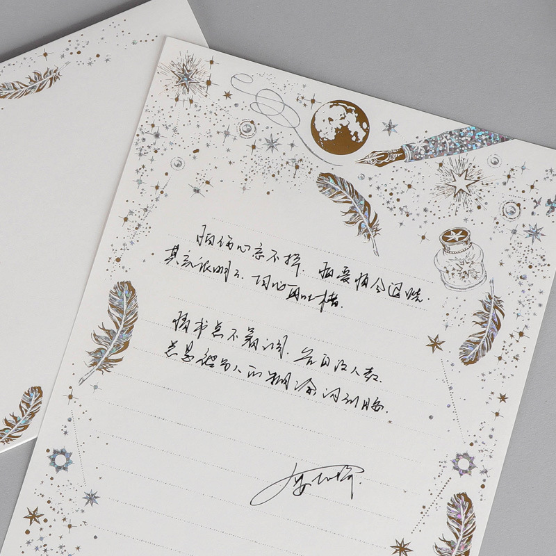 8PCS Gold Stamping Feather Writing Letter Paper Creative High End Romantic Gilding Letter Pad  Envelopes Sets Office Stationery