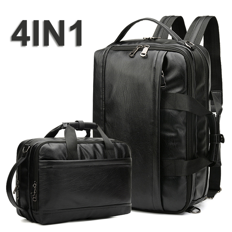 4in1 Shoulder Backpack Laptop Leather Bag Men Bapack Travel Waterproof Bags PU Leather Backpacks 15.6 Notebook Mochila Back Pack