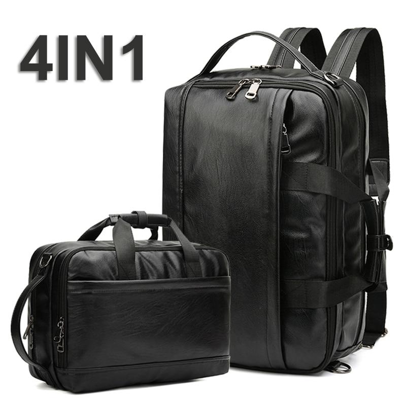 4in1 Shoulder Backpack Laptop Leather Bag Men Bapack Travel Waterproof Bags PU Leather Backpacks 15.6 Notebook Mochila Back Pack