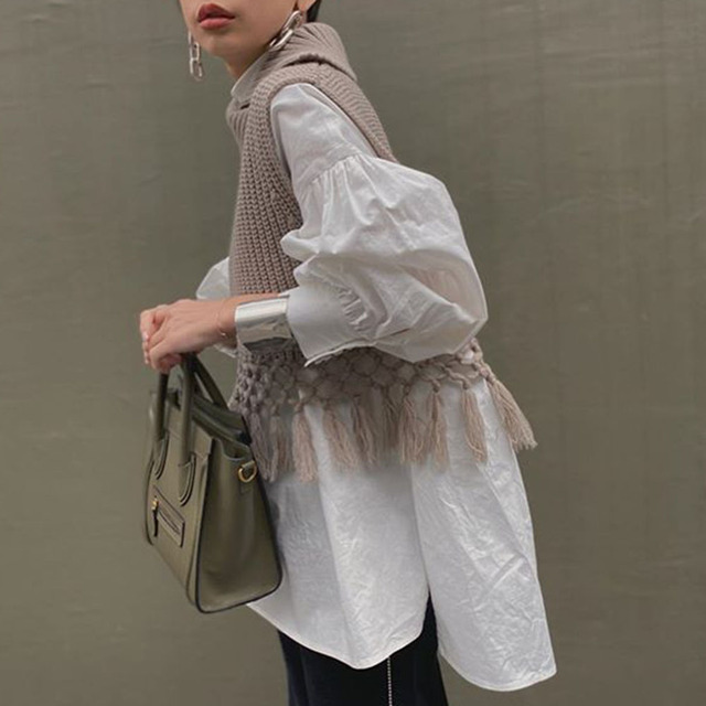 White Blouse Shirt Korean Summer Spring Lantern Long Sleeve Top Office Ladies Korean Style Oversized High Neck Blouse Femme