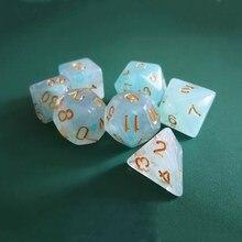 7 шт./компл. 17 цветов многогранные игральные кости d & d d4 d6 d8 d10 d % d12 d20 полигедрические игральные кости TRPG набор настольных игр