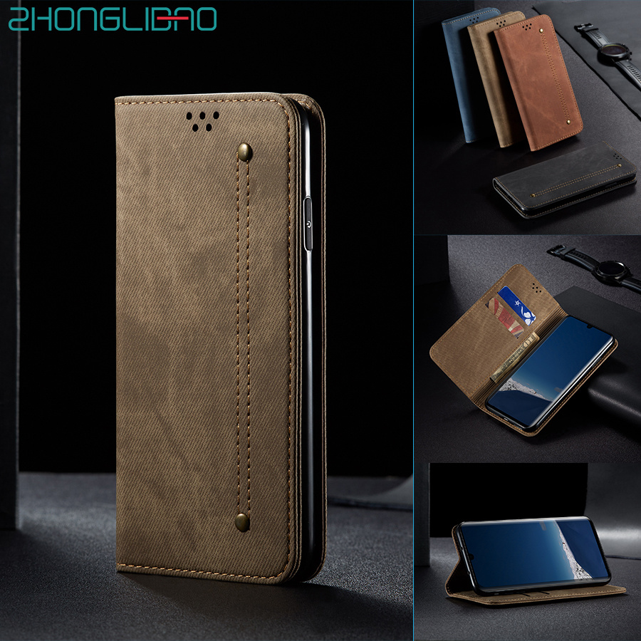 Denim Leather Flip Case for Huawei P30 <font><b>Mate</b></font> 30 Pro <font><b>Lite</b></font> P Smart Z Y9 Prime 2019 Hono 10i <font><b>20</b></font> 8x Luxury Magnetic Wallet Book Cover image