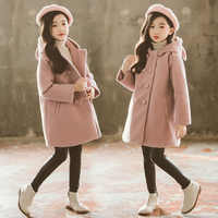 Famli Winter Jackets Girls Coat Teenage Woolen for Girl Trench Coat Children Cotton Girl Clothes Warm
