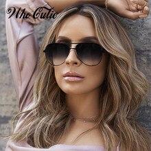Whocutie vintage óculos de sol de grandes dimensões das mulheres dos homens marca designe retro piloto quadro plana topo óculos de sol preto gradiente tons uv400
