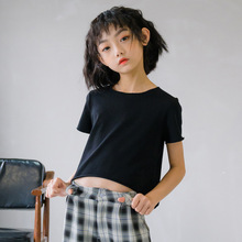 2020 Korean Style Girls Tee Solid Color round Neck Short Sleeve Wooden Ear Short Long Back Simple Casual All-match Short T-shirt simple long sleeves round neck solid color t shirt for women