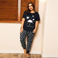 Doib женский пижамный комплект большого размера футболка с принтом