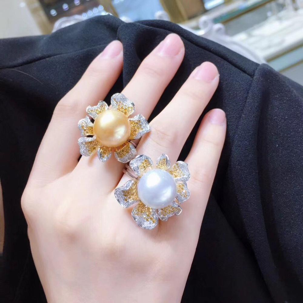 D127 Fine Jewelry 925 Sterling Silver Natural Fresh Water 12-13mm Golden White Pearls Rings for Women Fine Pearls Rings