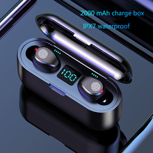 цена на Wireless headset Bluetooth V5.0 F9 TWS wireless headset Bluetooth screen LED 2000 MAH headset microphone hifi