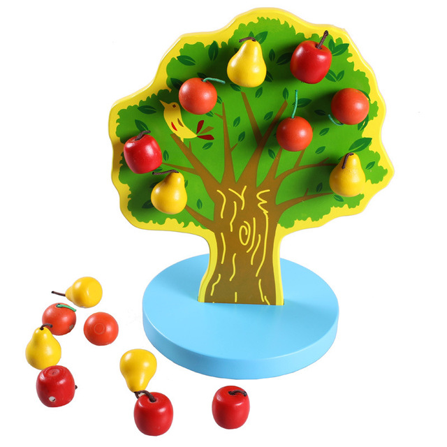 Montessori Wooden Magnetic Apple Pear Tree Math Toys Early Learning Educational Wooden Toys for Children Boys Birthday Gifts