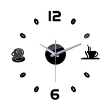 цена на Eaby Storm Mirror Clock DIY-Style Coffee Cup Three-dimensional Wall Sticker Creative Wall Clock