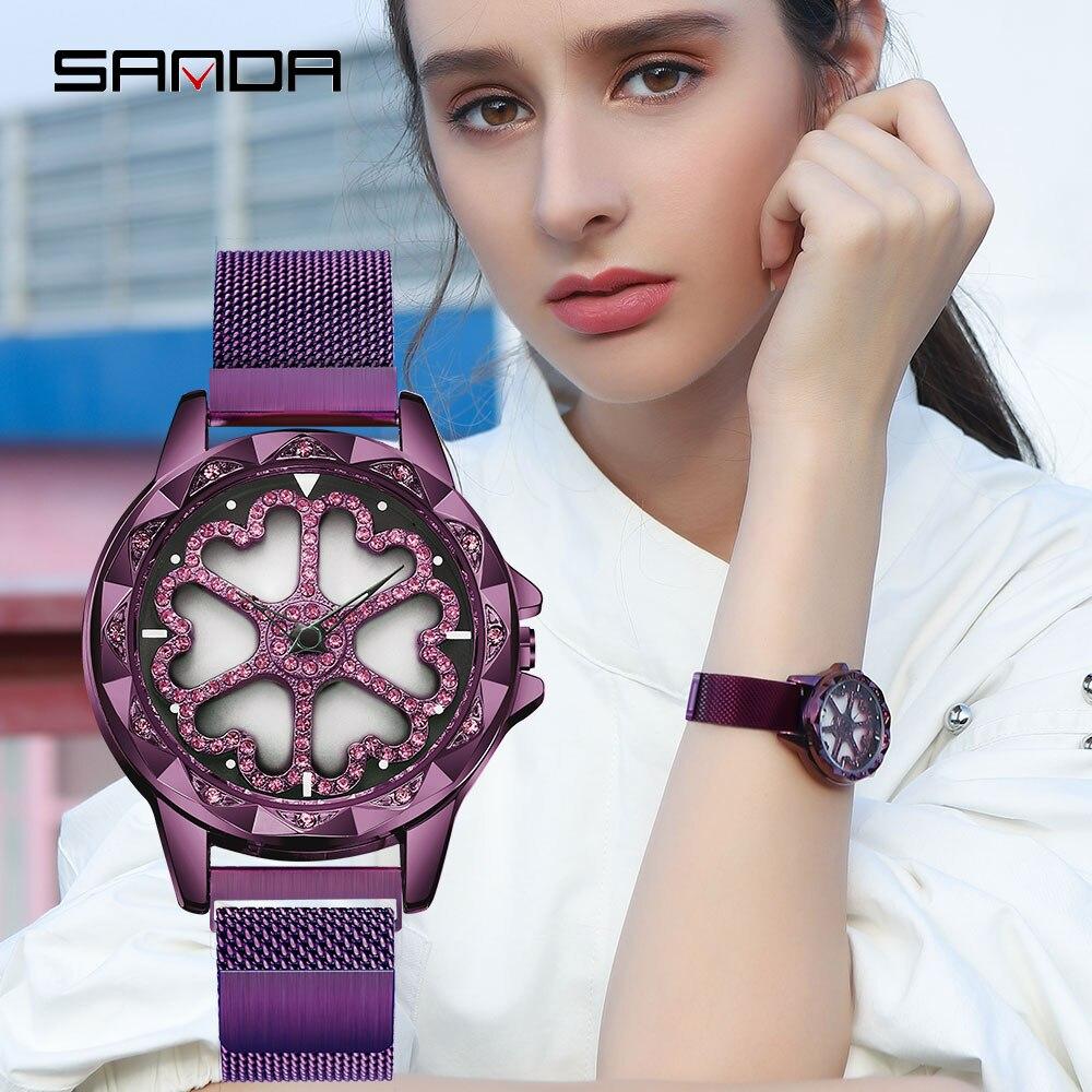 SANDA New Casual Delicate Rotating Dial Women Watch Life Waterproof Fashion Quartz Wristwatch Milan Mesh Belt Magnet Clasp 234