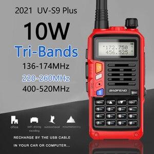 Image 2 - BaoFeng UV S9 плюс Tri Band10W мощный 2xAntenna VHF UHF 136 174 МГц/220 260 МГц/400 520 МГц 10 км дальность Ham Портативный одновременное подключение двух теле