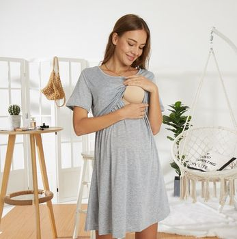 Summer Female Dress Fashionable Round Neck Shorts Sleeve Dress One-Piece for Pregnant Women fashionable round neck short sleeve plus size printed dress for women