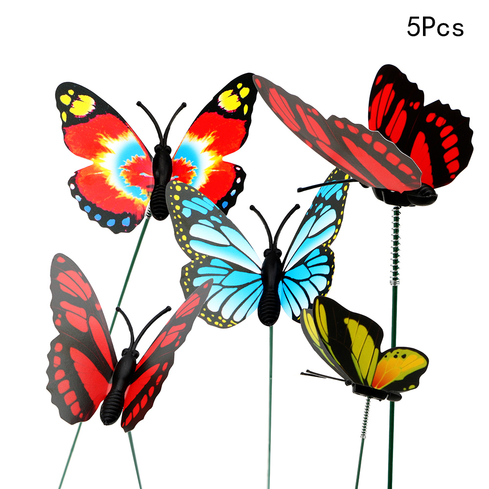 ITIMO 5 Pcs/Bunch Butterfly Flower Pots Colorful Butterfly Stake With Pile Home Improvement For Garden Outdoor Garden Decoration