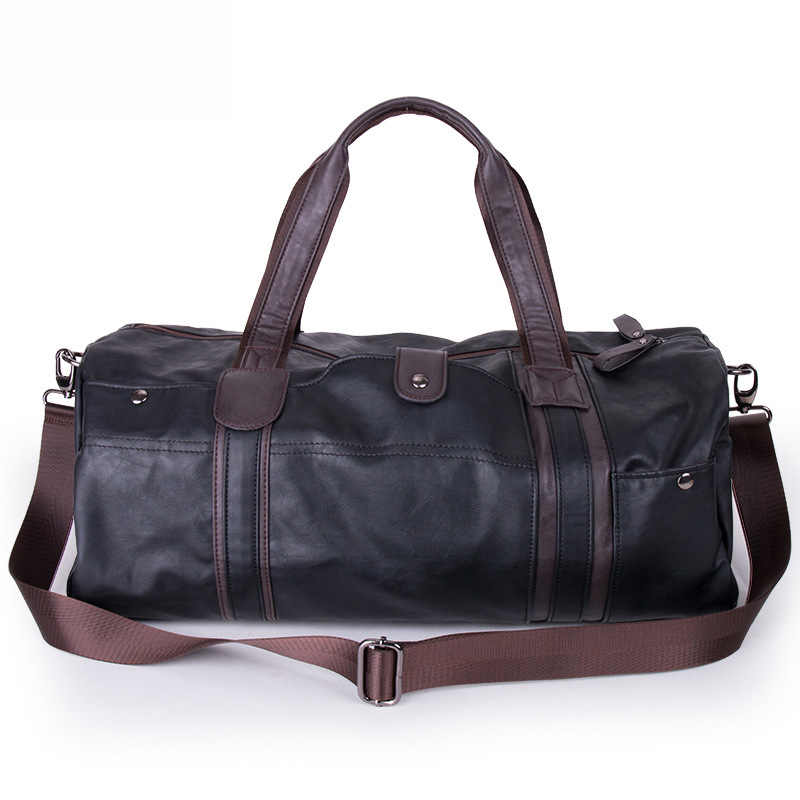 Sihirli birliği haftasonu yağ balmumu deri çantalar erkekler için silindir seyahat çantası taşınabilir omuz çantaları erkek moda taşıma çantası