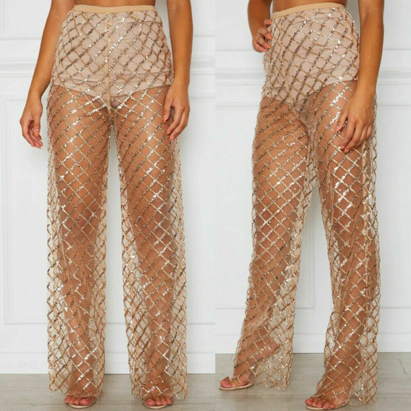 Ladies Crochet High Waist   Wide     Leg     Pants   See Through Capris Loose Trousers Women Lace Sexy Transparent Long   Pants