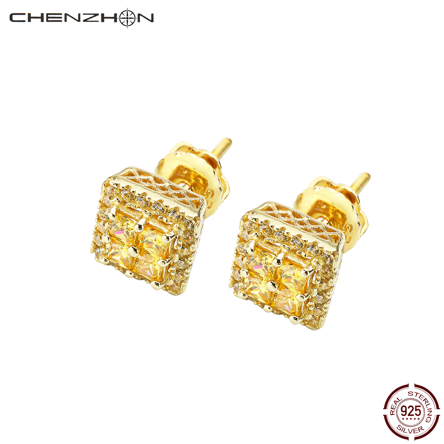 CHENZHON Stud Earrings 925 Sterling Silver For Women Multi-Color Jewelry Birthday Gift Cubic Zirconia Korean Earrings Box Pack