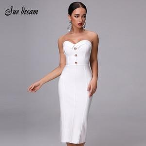 Image 1 - 2020 חדש קיץ תחבושת שמלה אלגנטי לבן סקסי Bodycon גבירותיי כפתור סטרפלס סקסי אופנה מועדון מסיבת עגל שמלה