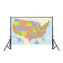 Non-woven Printing Map 150x225cm Detailed Of The United States For Culture And Education